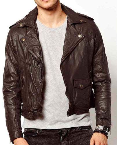 leather404 Clothing, Shoes & Accessories:Men's Clothing:Coats & Jackets s Handmade Men's Brown Leather Jacket, Slim fit Biker Brown Genuine Jackets