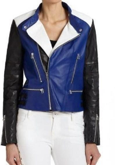leather404 Clothing, Shoes & Accessories:women's Clothing:Coats & Jackets s Handmade Woman Leather Biker Jacket Blue Black White Woman Style