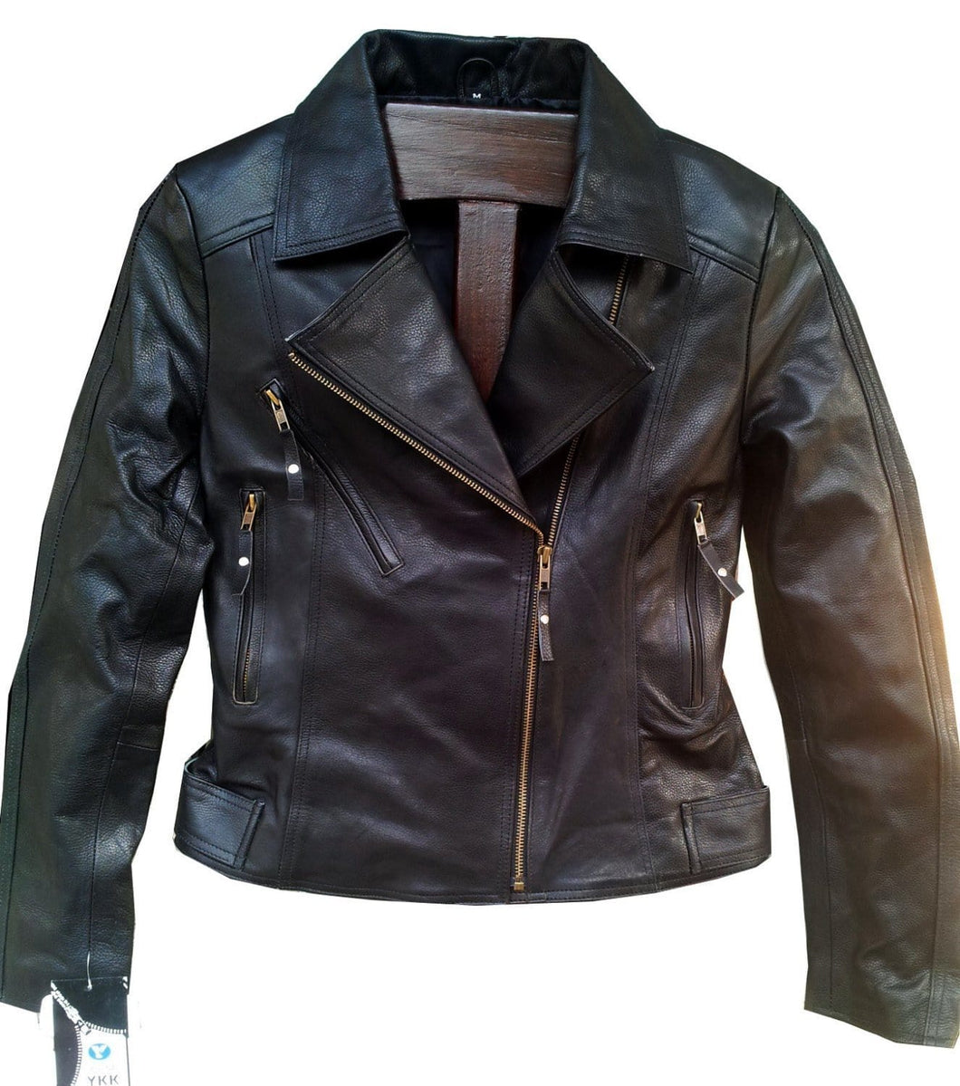 leather404 Clothing, Shoes & Accessories:women's Clothing:Coats & Jackets s Handmade Women Black Simple Brando Style Leather Jacket, Women leather jackets
