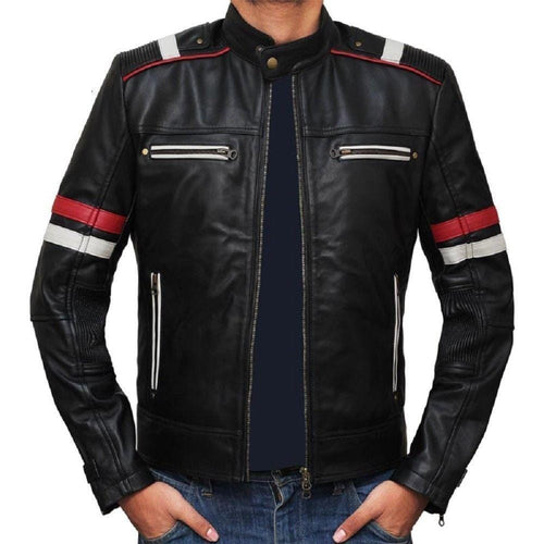 leather404 Clothing, Shoes & Accessories:Men's Clothing:Coats & Jackets s Men Genuine Lambskin Black Leather Red White Stripped Jacket Slim fit Biker Motorcycle Designer jackets