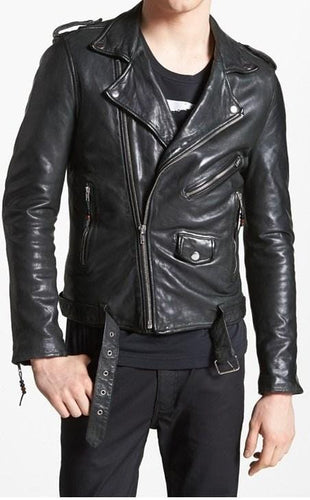 leather404 Clothing, Shoes & Accessories:Men's Clothing:Coats & Jackets s Men's Black Belted Buckle Zip Up Leather Handmade Casual Jackets