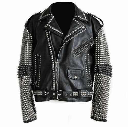 leather404 Clothing, Shoes & Accessories:Men's Clothing:Coats & Jackets s Mens Full Black Punk Silver Spiked Studded Cowhide Leather Stylish Jackets