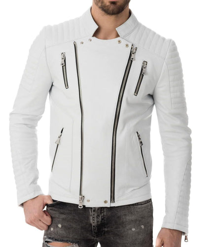 leather404 Clothing, Shoes & Accessories:Men's Clothing:Coats & Jackets Men's Genuine Lambskin Leather Whiter Jacket Biker Motorcycle Leather Jackets