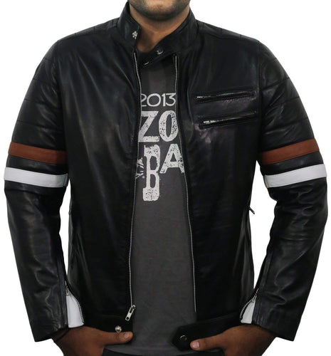 leather404 Clothing, Shoes & Accessories:Men's Clothing:Coats & Jackets s Men Genuine Lambskin Black Leather Stripped Jacket Slim fit Biker Motorcycle Designer jackets