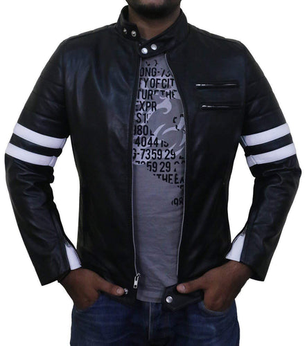 leather404 Clothing, Shoes & Accessories:Men's Clothing:Coats & Jackets s Men Genuine Lambskin Black Leather Stripped Jacket Slim fit Biker Motorcycle Designer jacket