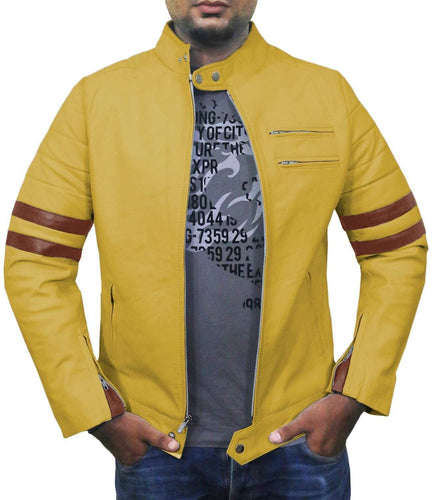 leather404 Clothing, Shoes & Accessories:Men's Clothing:Coats & Jackets s Men Genuine Lambskin Yellow Leather Brown Stripped Jacket Slim fit Biker Motorcycle Design jacket