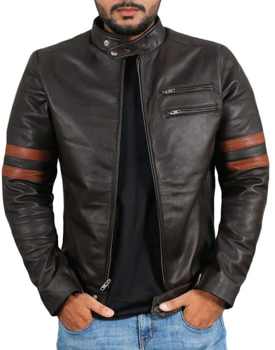 leather404 Clothing, Shoes & Accessories:Men's Clothing:Coats & Jackets s Men Genuine Lambskin Black Leather Brown Stripped Jacket Slim fit Biker Motorcycle Designer jackets