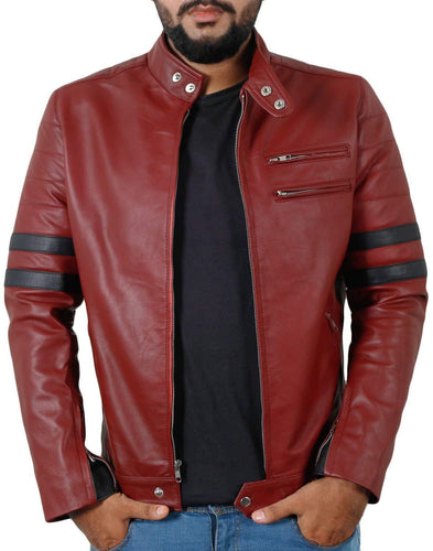 leather404 Clothing, Shoes & Accessories:Men's Clothing:Coats & Jackets s Men Genuine Lambskin Maroon Leather Navy Blue Stripped Jacket Slim fit Biker Designer jackets