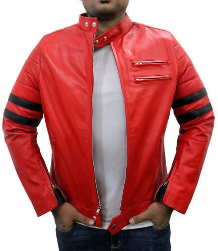 leather404 Clothing, Shoes & Accessories:Men's Clothing:Coats & Jackets s Men Genuine Lambskin Red Leather Stripped Jacket Slim fit Biker Motorcycle Designer jackets