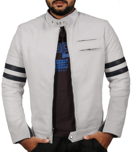 leather404 Clothing, Shoes & Accessories:Men's Clothing:Coats & Jackets s Men Genuine Lambskin White Leather Black Stripped Jacket Slim fit Biker Designer jacket