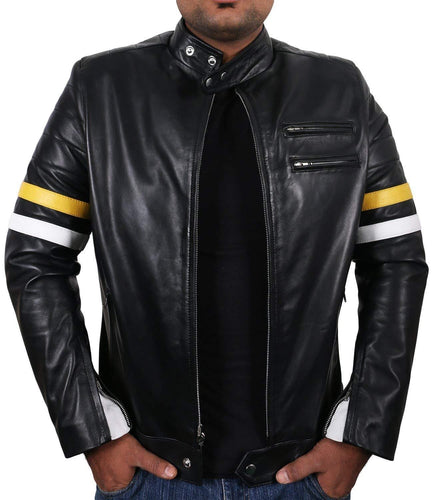 leather404 Clothing, Shoes & Accessories:Men's Clothing:Coats & Jackets s Genuine Lambskin Black Leather Tan White Stripped Slim fit Biker Motorcycle Designer jacket