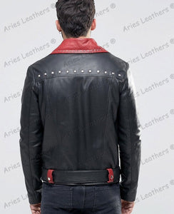 leather404 Clothing, Shoes & Accessories:Men's Clothing:Coats & Jackets Mens Genuine Lambskin Leather Beckham Black Biker Motorcycle jackets