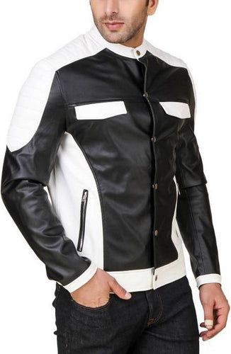 leather404 Clothing, Shoes & Accessories:Men's Clothing:Coats & Jackets Men's Genuine Lambskin Leather Jacket Black White Biker Motorcycle jackets