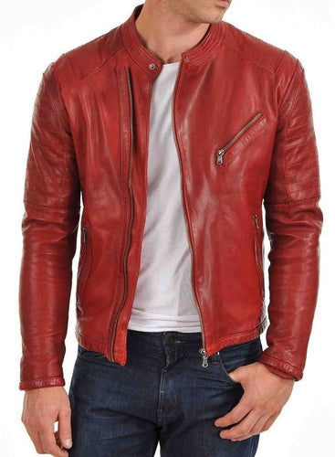 leather404 Clothing, Shoes & Accessories:Men's Clothing:Coats & Jackets s Men's Genuine Lambskin Leather Jacket Red Slim fit Biker Motorcycle jackets