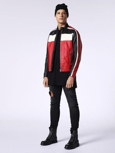 leather404 Clothing, Shoes & Accessories:Men's Clothing:Coats & Jackets Men's Genuine Leather Jacket Multi-color Black white and red Slim fit Biker