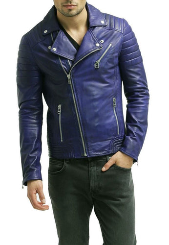 leather404 Clothing, Shoes & Accessories:Men's Clothing:Coats & Jackets s Men's Hot Genuine Lambskin Leather Jacket Unique Blue Slim Motorcycle jackets