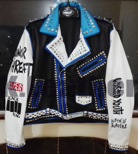 leather404 Clothing, Shoes & Accessories:Men's Clothing:Coats & Jackets s Mens Multi color Studded Printed Logos Punk Leather Jackets