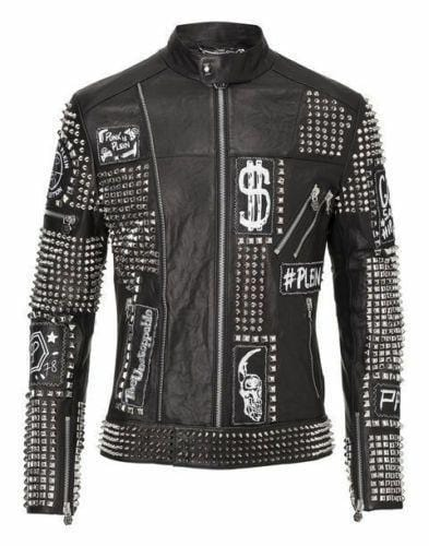leather404 Clothing, Shoes & Accessories:Men's Clothing:Coats & Jackets s Mens Punk Biker Full Black Studded Embroidery Patches Leather Jackets