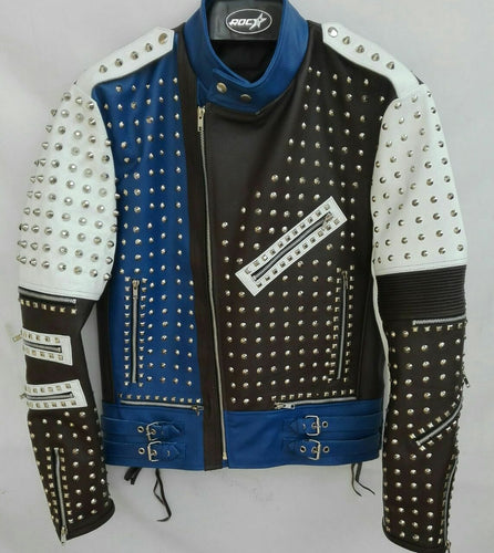 leather404 Clothing, Shoes & Accessories:Men's Clothing:Coats & Jackets s Mens Punk Blue White Silver Studded Cowhide Leather Jackets
