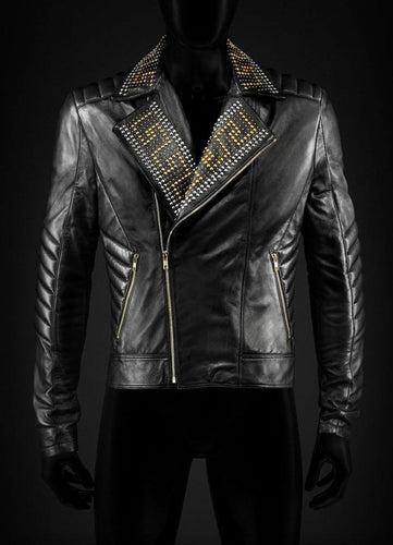 leather404 Clothing, Shoes & Accessories:Men's Clothing:Coats & Jackets Versace Golden Silver Studded Mens Black Cowhide Leather Jackets
