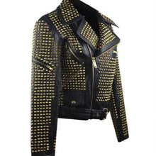 leather404 Clothing, Shoes & Accessories:women's Clothing:Coats & Jackets Woman Black Full Golden Studded Brando Style Punk Cowhide Leather Jackets