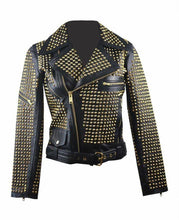 leather404 Clothing, Shoes & Accessories:women's Clothing:Coats & Jackets s Woman Black Full Golden Studded Brando Style Punk Cowhide Leather Jackets
