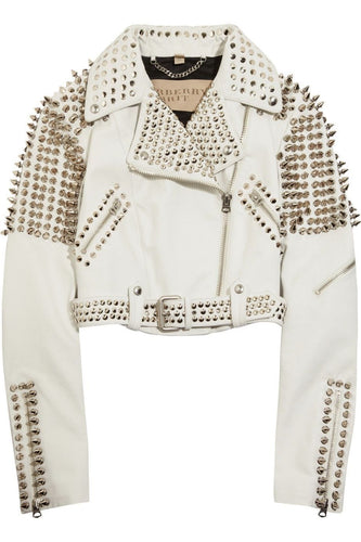 leather404 Clothing, Shoes & Accessories:women's Clothing:Coats & Jackets Woman Full White Punk Brando Spiked Studded Leather Jackets