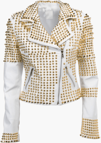 leather404 Clothing, Shoes & Accessories:women's Clothing:Coats & Jackets s Woman White Punk Golden Studded Biker Cowhide Leathers