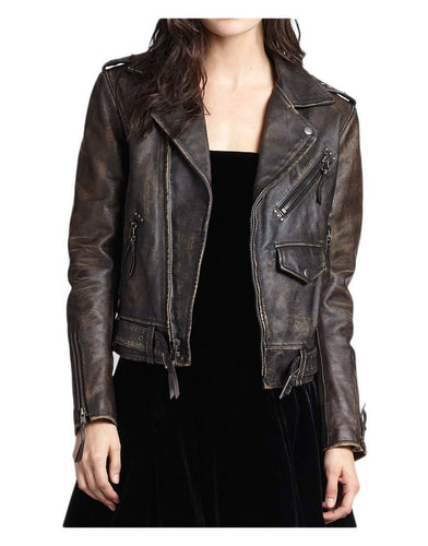 leather404 Clothing, Shoes & Accessories:women's Clothing:Coats & Jackets s Women Cafe Racer Moto Biker Distressed Brown Vintage Real Leather Jackets