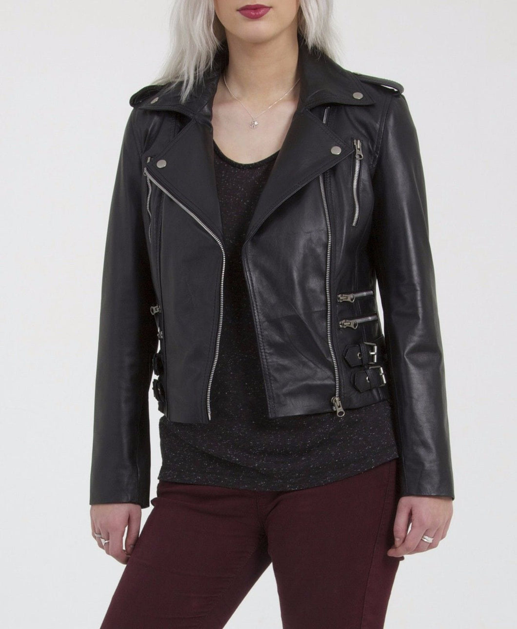 leather404 Clothing, Shoes & Accessories:women's Clothing:Coats & Jackets s Women's Black Genuine Lambskin Leather Jacket Motorcycle Slim Fit Biker Coat