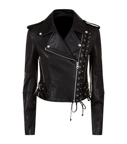 leather404 Clothing, Shoes & Accessories:women's Clothing:Coats & Jackets s Women's Black Slim Fit Biker Style Real Leather Jackets