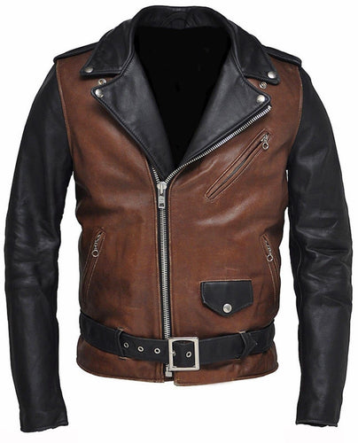 leather404 Clothing, Shoes & Accessories:Men's Clothing:Coats & Jackets s New Designer Classic Original Two Tone Motorcycle Fashion Leather Jacket Men
