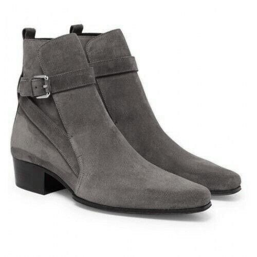 leather404 Clothing, Shoes & Accessories:Men's Shoes:Boots Gray Suede Ankle boots Men's