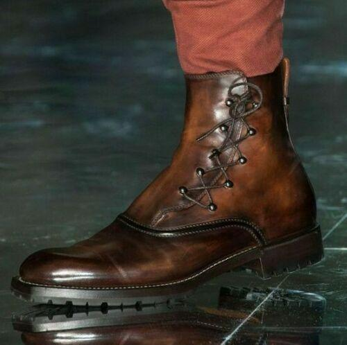 leather404 Clothing, Shoes & Accessories:Men's Shoes:Boots Bespoke Men's Brown Leather Ankle Boots