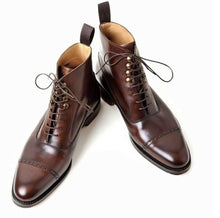 Handmade Brown Leather ankleboots, Dress shoes,Oxford Boots, Leahter Edges , Formal Boots, Stylish Boots,Lace up red Boots,Men Boots, Luxery Boots, Black Brown Boots