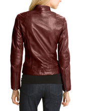 leather404 Clothing, Shoes & Accessories:women's Clothing:Coats & Jackets Hollywood Collection Soft Leather Biker Burgundy Jacket For Women