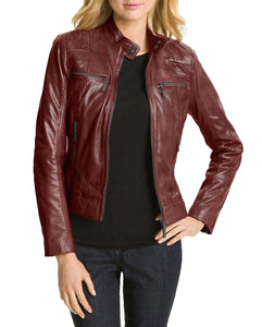 leather404 Clothing, Shoes & Accessories:women's Clothing:Coats & Jackets s Hollywood Collection Soft Leather Biker Burgundy Jacket For Women
