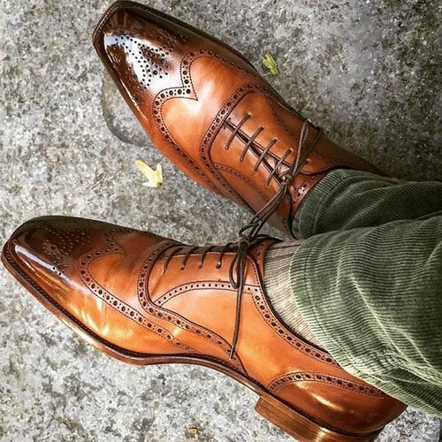 leather404 Clothing, Shoes & Accessories:Men's Shoes:Dress Shoes usa-7 Oxford Wing Toe Two Tone Brogues, Men Handmade Dress Formal Shoes