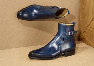 leather404 Clothing, Shoes & Accessories:Men's Shoes:Boots blue Buckle Ankle High Boot