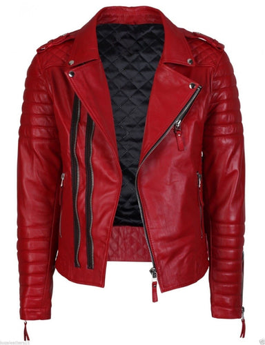 leather404 Clothing, Shoes & Accessories:Men's Clothing:Coats & Jackets s Red Quilted Leather Biker Jacket Perfect Re Product Casual Handmade Jacket