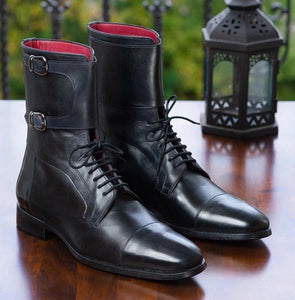 leather404 Clothing, Shoes & Accessories:Men's Shoes:Boots Black Monk Strap Ankle Lace Up Cap Toe Boot