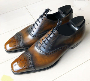 leather404 Clothing, Shoes & Accessories:Men's Shoes:Dress Shoes Handmade Men's Tan Black Leather Brogue Shoes