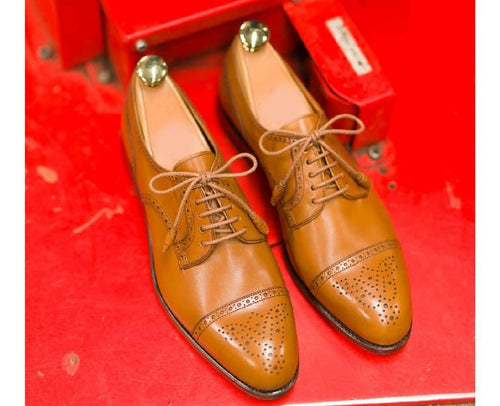 leather404 Clothing, Shoes & Accessories:Men's Shoes:Dress Shoes Men's Cap Toe Brogue Tan Leather Shoes