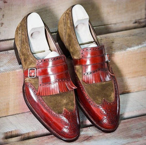 leather404 Clothing, Shoes & Accessories:Men's Shoes:Dress Shoes Handmade Loafers 2 Tone Brown Monk Fringe Shoes