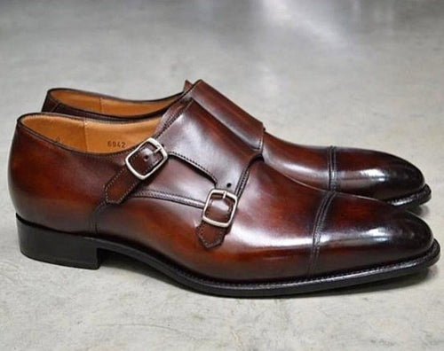 leather404 Clothing, Shoes & Accessories:Men's Shoes:Dress Shoes usa-7 Men's Double Monk Leather Casual Shoe Brown Shoes