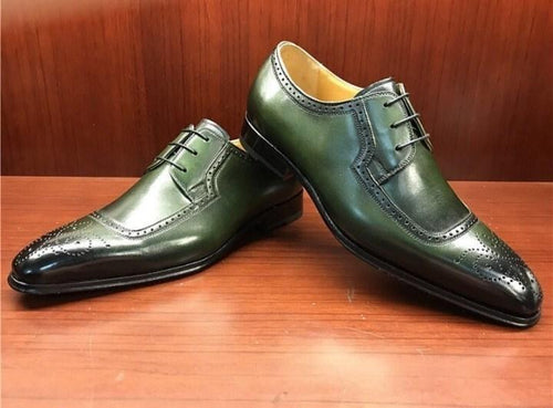 leather404 Clothing, Shoes & Accessories:Men's Shoes:Dress Shoes usa-7 Men's Green Black Brogue Square Toe Casual Leather Shoes