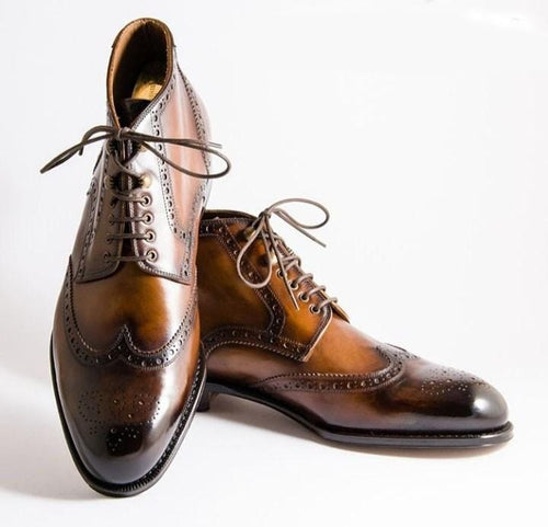leather404 Clothing, Shoes & Accessories:Men's Shoes:Dress Shoes usa-7 Men's Cognac Color Wing Tip Lace up Leather Shoes