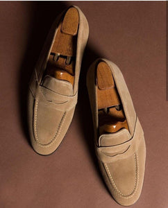 leather404 Clothing, Shoes & Accessories:Men's Shoes:Dress Shoes Handmade Beige Penny Loafers Suede Shoes For Men's