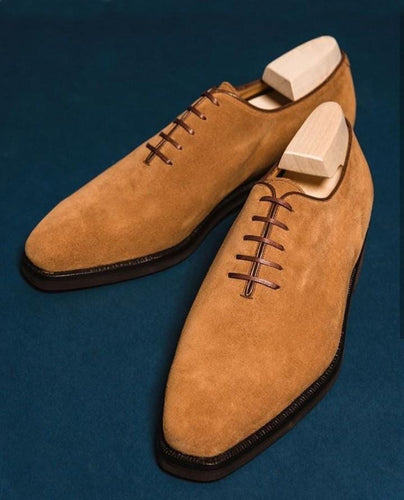 leather404 Clothing, Shoes & Accessories:Men's Shoes:Dress Shoes usa-7 Suede Derby Casual Shoes, Men's Tan Lace Up Shoes