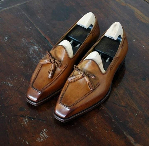 leather404 Clothing, Shoes & Accessories:Men's Shoes:Dress Shoes usa-7 Handmade Men's Brown Moccasin Slip On Square Toe Tussles Leather Shoes